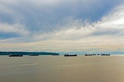 Ships anchored in Port of Vancouver
