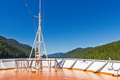 Looking forward at ship's bow