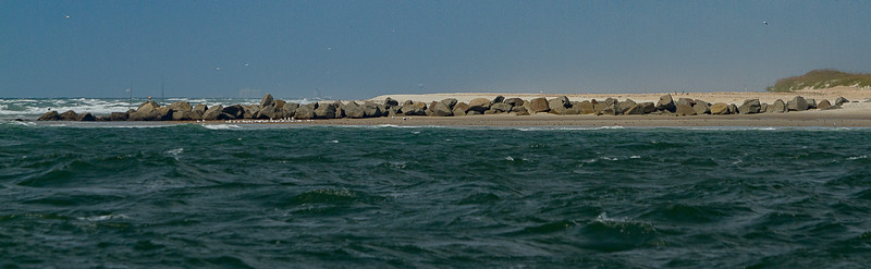 The rock jetty at Ft Macon on our way out to Cape Lookout