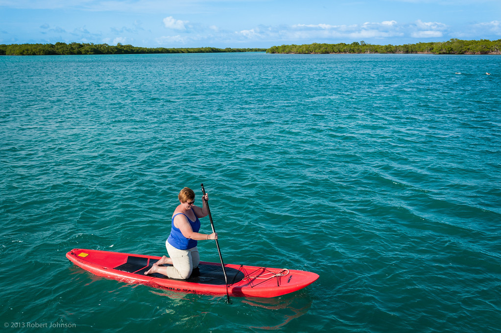 Kneeling paddle boarding (note wake left by swimmers)
