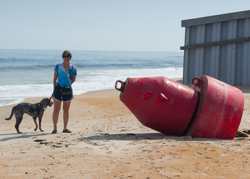 Vilano beach, dog, buoy and guirl