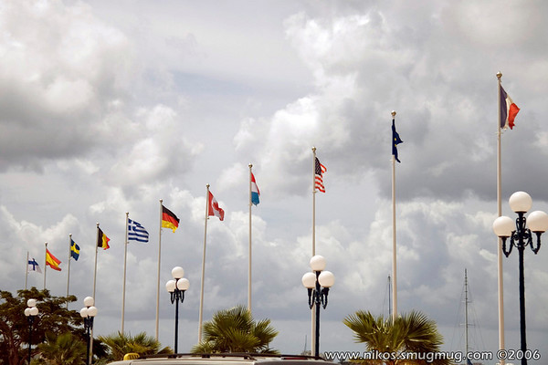 Flags on the Marigot Harbor which is the French side of the island.