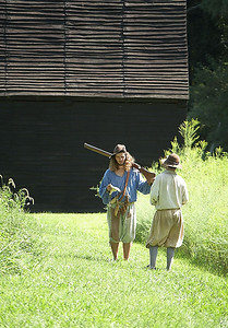 There's a daily musket firing demonstration at the Spray Tobacco Plantation. The back story of the demo is a test of the indentured servant's musket skills.