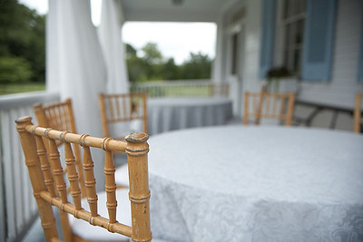 Tables for outdoor dining at the Brome-Howard Inn.