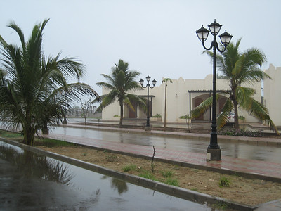 Taken at the Samharam Tourist Village, Salalah where we stayed.  Woohoo, rain, mist, puddles - believe it or not Kiwis and Aussies I was so happy to see rain.