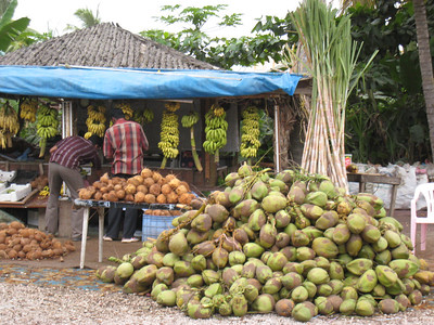 Fruit stall - Salalah's climate is ideal for bananas, coconuts and other tropical fruit.