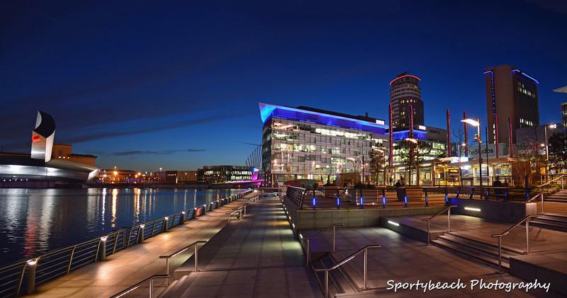 Panoramic view  Media City at night