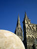 "Salisbury Cathedral with onyx ""Lunar Disc"" sculpture by <a href=""http://www.emilyyoung.com"">Emily Young</a>."