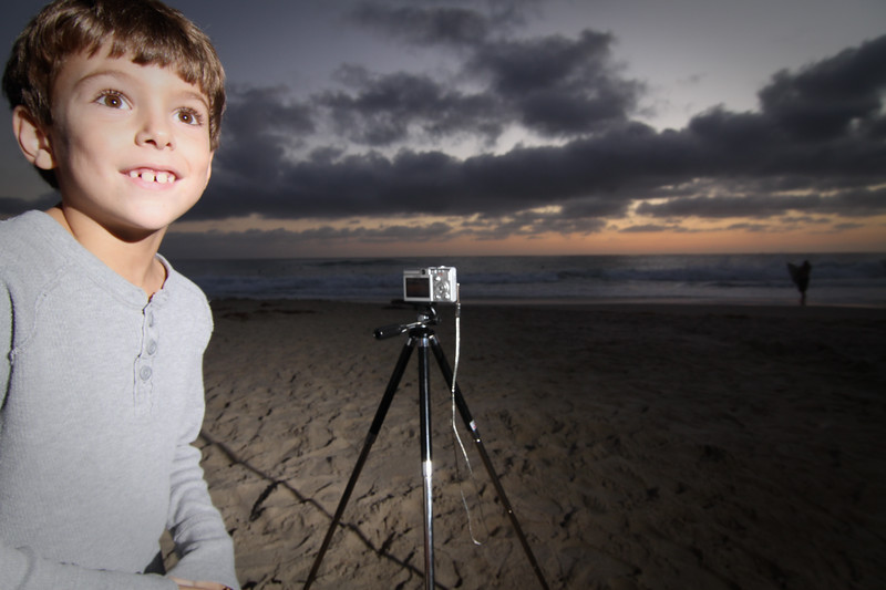 Cooper setting up for a sunset shot