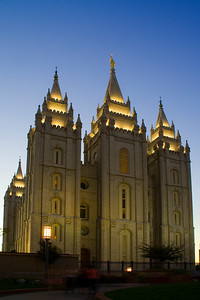 Salt Lake temple at dusk.