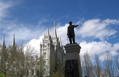 Salt Lake Temple & statue of Brigham Young. 8 Apr 2007