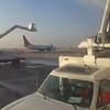 De-icing the airplane at Salt Lake Airport, Utah.