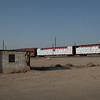 Minutes from Salvation Mountain, we are stopped as a train goes by.
