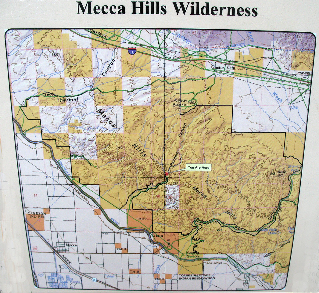 Mecca Hills Wilderness 1 <br /> Map of the area we drove to out of the town of Mecca. It was a 5 mile dirt road drive that looks so much better when you are there.