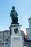 Mozartplatz & Mozart Monument, Salzburg, Austria. The square is dominated by the statue of Mozart by Ludwig Schwanthaler, ceremoniously unveiled on September 5, 1842 in the presence of Mozar ...