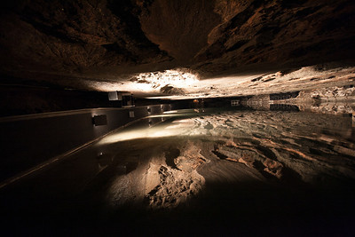 a lake of salt water inside the salt mine.  They dissolve the salt with water and then pump it to the surface where they then evaporate the water.