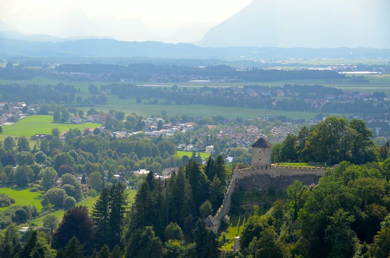 One of many views from the top of the hill, over Salzburg.  You can see part of the old city walls.