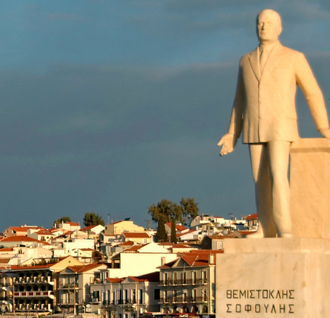 Statue of Themistoklis Sofoulis, Vathy, Samos, Greece, 25 December 2008.     Much of Greece won independence from the Ottoman Empire in 1829 but not Samos.  It was united with Greece in 1913, after Sofoulis had led a successful uprising against the Turks.