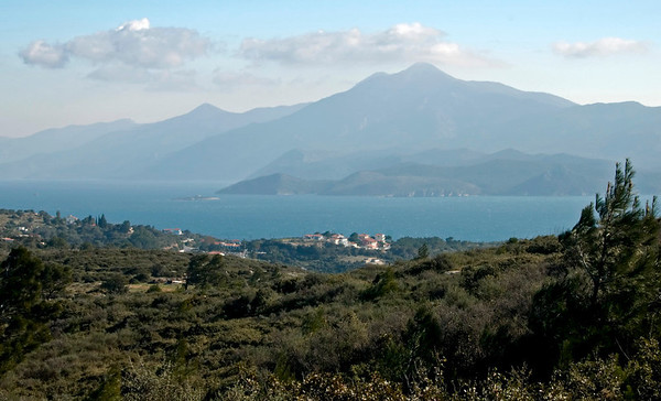 Looking east towards Turkey from north of Pythagorio, Samos, Greece, 31 December 2008