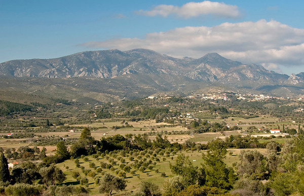 Looking west to Hora and the Ampelos mountains from south of Mytilini, Samos, Greece, 31 December 2008