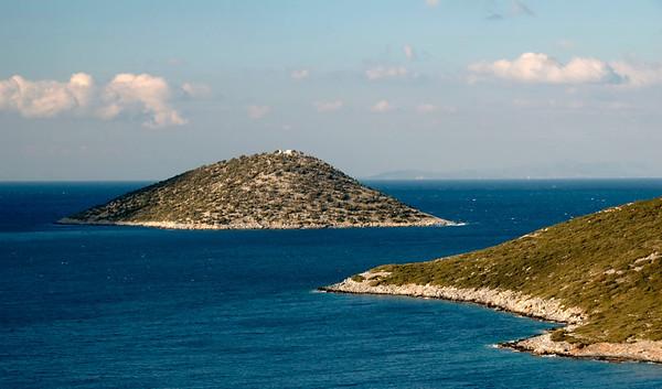Looking north to Agia Nikolaos (Saint Nicholas) Island, Samos, Greece, 29 December 2008