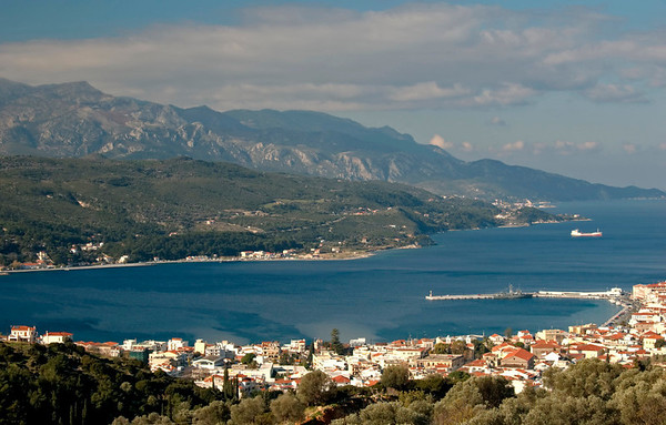 Looking west over Vathy towards Mount Karvounis (1,153m), Samos, Greece, 1 January 2009