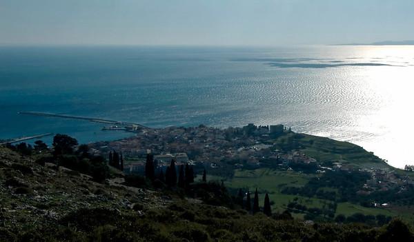 Looking south over Pythagorio from near the Spillanis Monastery, Samos, Greece, 31 December 2008