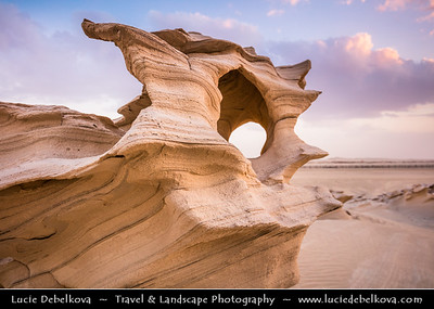 Middle East - GCC - United Arab Emirates - UAE - Emirate of Abu Dhabi - Al Wathba Fossil Dunes Sandstone Formations in Desert during Sunset