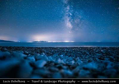 Europe - Albania - Vlorë County - Albanian Riviera - Borsh - Maritime village on coast of Adriatic & Ionian Sea, northernmost arm of Mediterranean Sea - Night sky with stars and Milky Way
