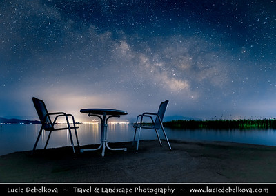 Europe - Macedonia - Ohrid Lake - Охридско Езеро - Ohridsko Ezero - UNESCO World Heritage Site - One of Europe's deepest & oldest lakes - Largest & most beautiful out of Macedonia's three tectonic lakes - Night Sky with Stars & Milky Way with Meteorite - Meteor - Falling star - Shooting star