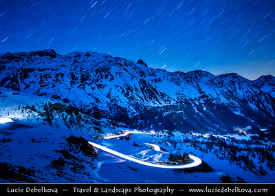 Europe - Switzerland - Swiss - Graubünden Canton - Alps - Alpen - Alpi - Alpes - Great Mountain Range in Europe - Bernina Pass - 2328 m. high mountain pass in the Bernina Range of the Alps at night