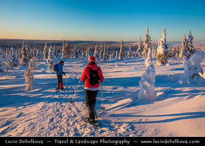 Europe - Finland - Lapland - Lappi - The largest & northernmost region of Finland - North of the Arctic Circle - Suomen Latu Kiilopää - Fell Centre Kiilopää - Winter sports center high up in a mountainous area of Finnish Lapland - 250 km north of the Arctic Circle under fresh cover of snow during witner time