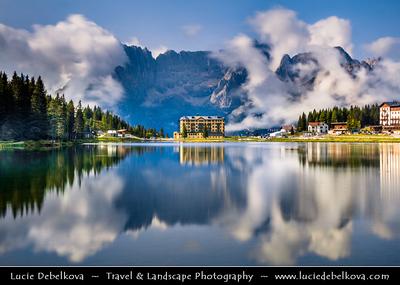 Europe - Italy - Italia - Alps - Dolomites - Dolomiti - Province of Belluno - Lake Misurina - Lago di Misurina - Iconic Alpine lake at elevation 1,754 m (5,755 ft)