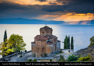 Europe - Macedonia - Ohrid - Historical town on shores of Lake Ohrid (Охридско Езеро, Ohridsko Ezero) - UNESCO Cultural & Natural World Heritage Site - Old Town - Church of St. John at Kaneo - Saint John the Theologian, Kaneo -  Свети Јован Канео - Sveti Jovan Kaneo - Saint John at Kaneo - Macedonian Orthodox church situated on cliff over Kaneo Beach overlooking Lake Ohrid in Ohrid city - One of most popular tourist destinations in Macedonia