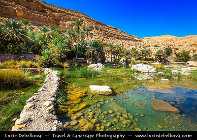 Middle East - Sultanate of Oman - Sharqiyah Region - Wadi Bani Khalid - One of largest Omani wadis & most famous wadi in region with unique rocks, crystal clear blue pools and beautiful waterfalls