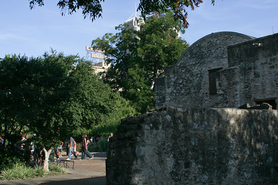 Alamo ground with the Crockett Hotel in the background