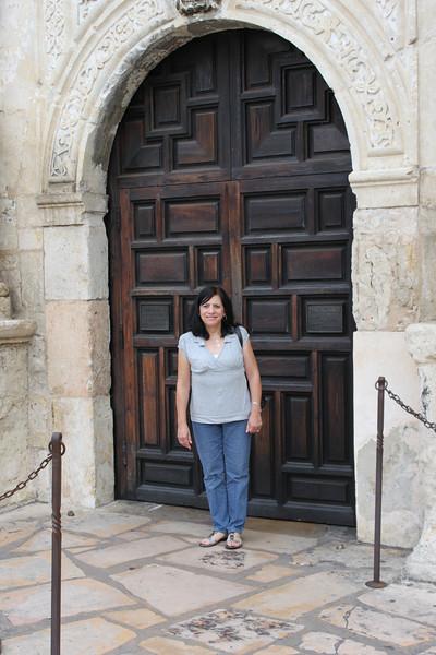 Jo-Ann in front of the Alamo