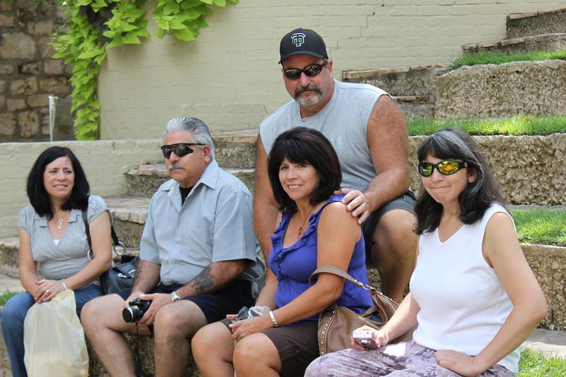 Jo-Ann, Dennis, Mike, Tish & Jen rest along the Riverwalk