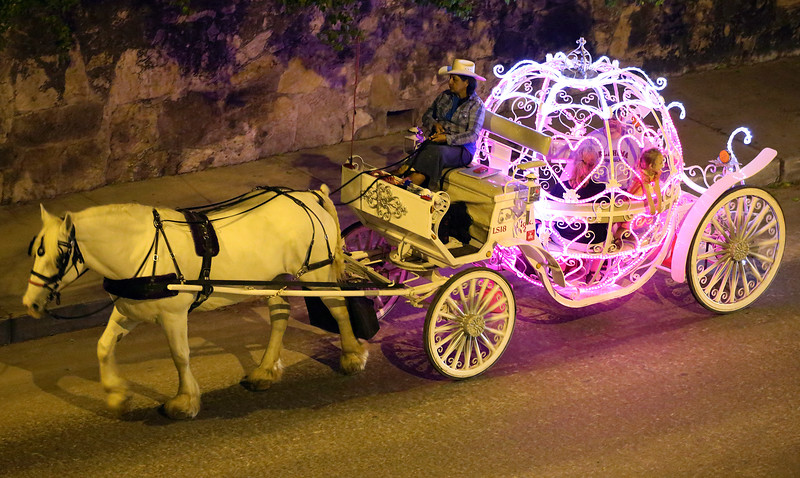 That evening in San Antonio, carriage rides beside the Alamo.