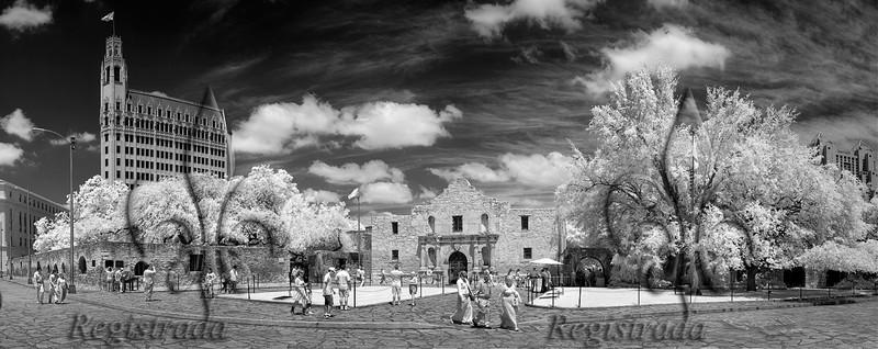 Alamo Plaza, chapel IR pano 2