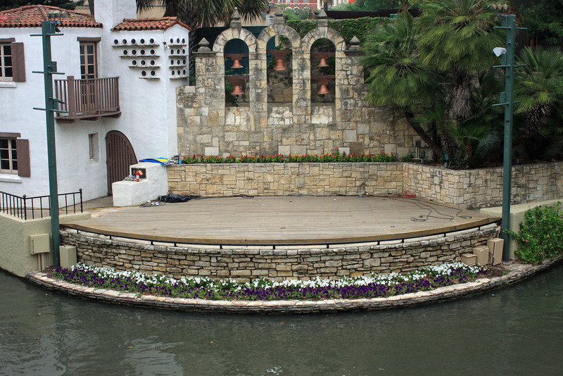 Riverwalk stage.  The river separates the performers from the audience.