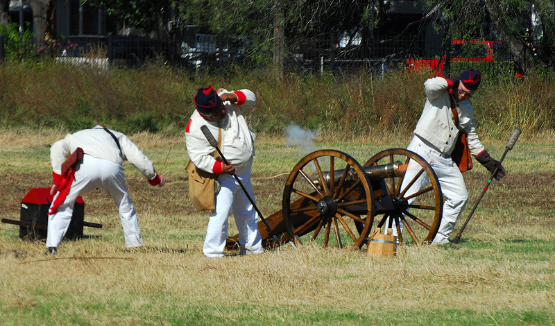There were some men in the field across the street reenacting the battle of Conception (predates the Alamo by six months, I think).  The artillary group fires their three pounder.