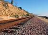 Pacific coastline train tracks.