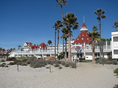 The Hotel Del Coronado from the beach.