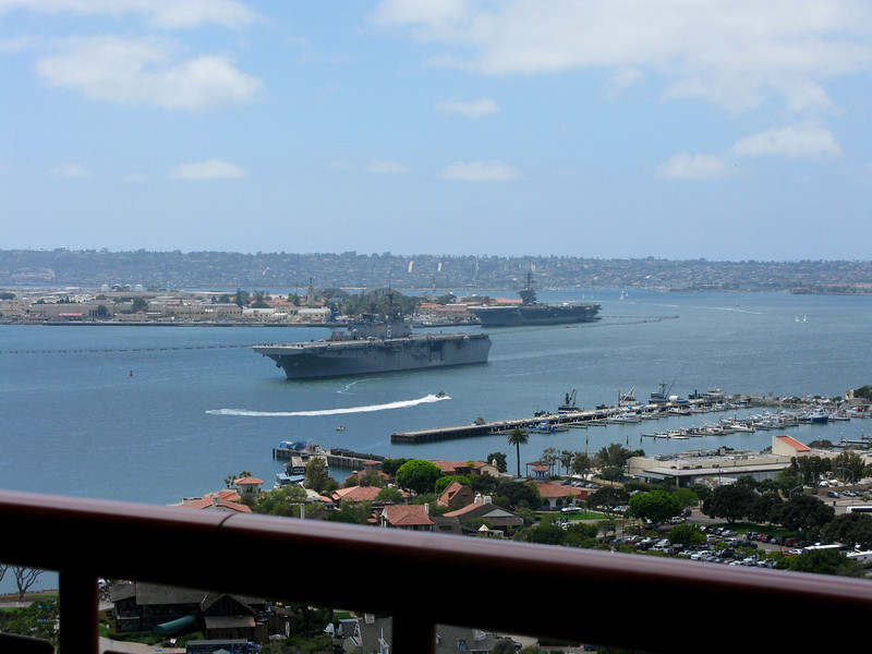 Aircraft carriers in San Diego bay.