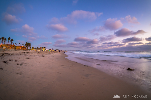 San Diego beach after sunset