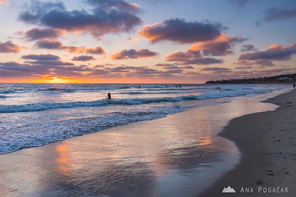 San Diego beach at sunset