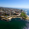 Aerial shot of La Jolla Cove, with the village of La Jolla and Scripps Park.