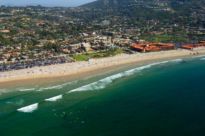 Aerial photo of popular La Jolla Shores beach, San Diego, California