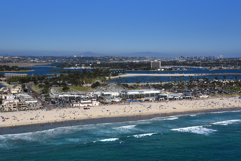 Aerial view of Mission Beach and the Giant Dipper Roller Coaster.
